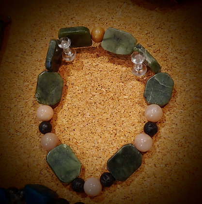 Serpentine and Rose Quartz Stretch Bracelet