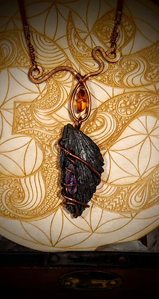 Black Kyanite, Amethyst, and Amber necklace