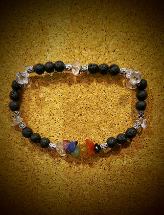 7 Chakra Stretch Bracelet w/Lava and Quartz Beads