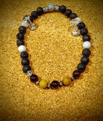 Mookaite, Garner, and Howlite Stretch Bracelet