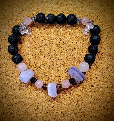 Blue Lace Agate, Rose Quartz, and Tiger's Eye Stretch Bracelet