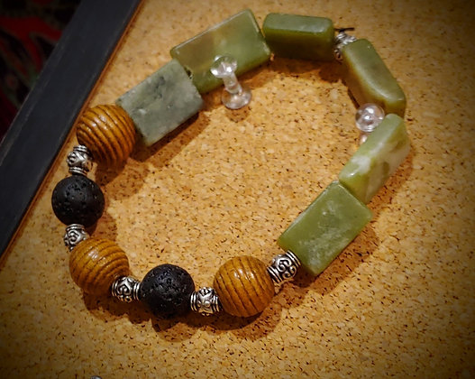 Serpentine with wood and lava bead stretch bracelet
