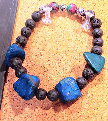 Turquoise chunks with Ruby Zoisite Stretch Bracelet