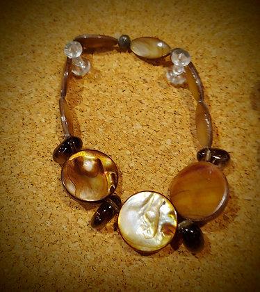 Abalone Shell w/Smokey Quartz Stretch Bracelet