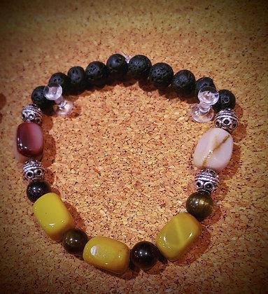 Mookaite w/Tiger's Eye amd Lava Bead Stretch Bracelet