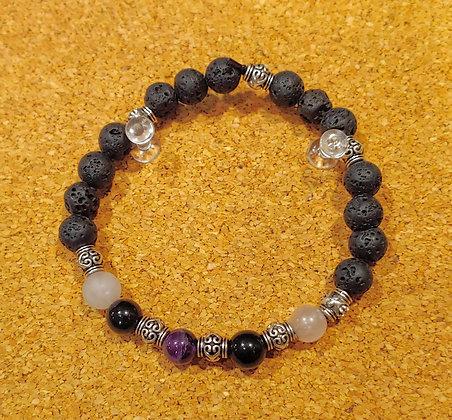 Amethyst, Black Obsidian and Rose Quartz Stretch Bracelet