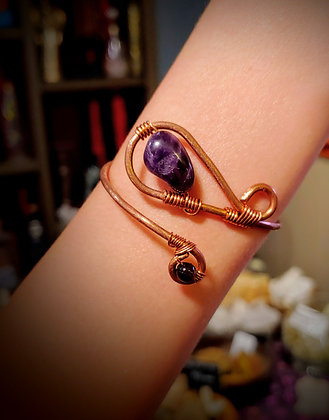 Copper Bracelet Cuff with Amethyst and Smokey Quartz