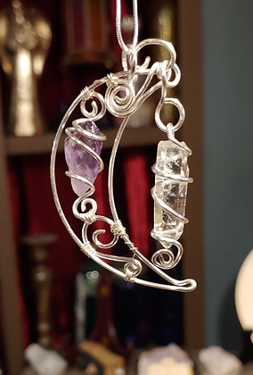 Cresent moon with Crystal Quartz and Amethyst