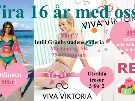 Fira 16 år med oss med massor av fina erbjudanden i Uppsala!