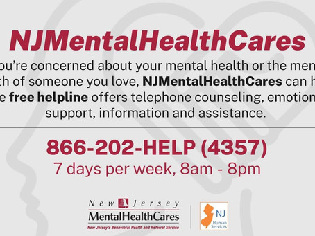 NJMentalHealthCares is New Jersey's free, confidential statewide mental health information referral