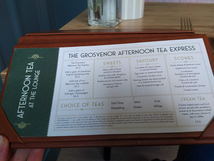 Afternoon tea at the Grosvenor - menu