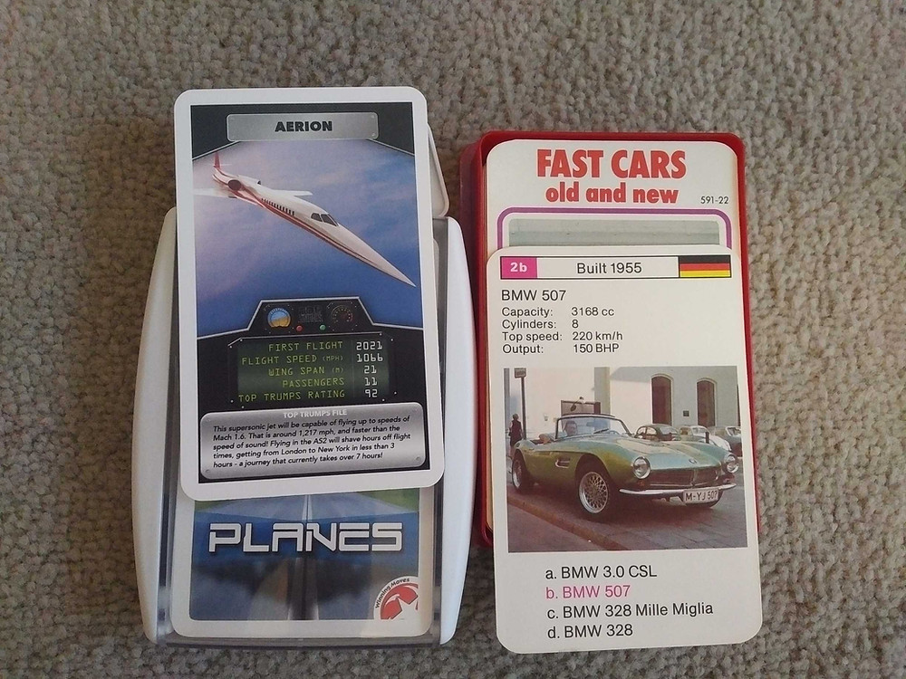 Games for traveling on a plane or train - Top Trumps