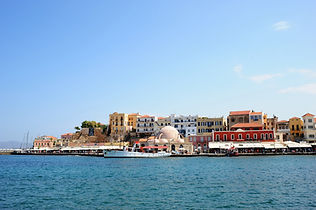 Chania harbour and mosque, Crete