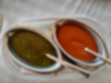 Mojo rojo and verde (red and green sauces)
