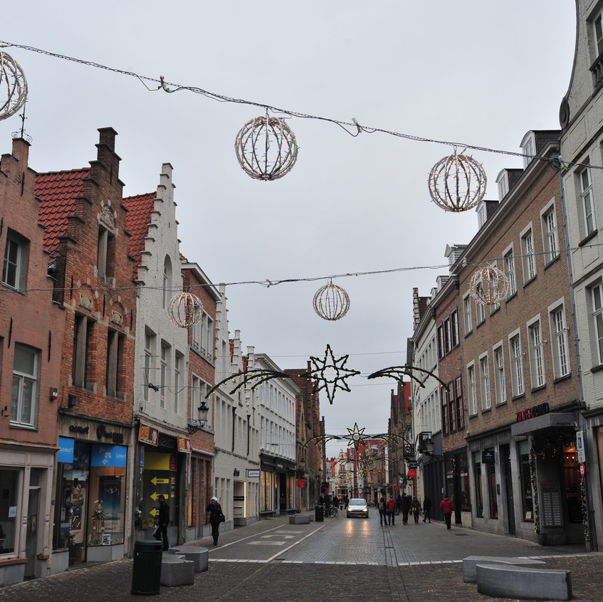 Bruges shopping street in Christmas Day