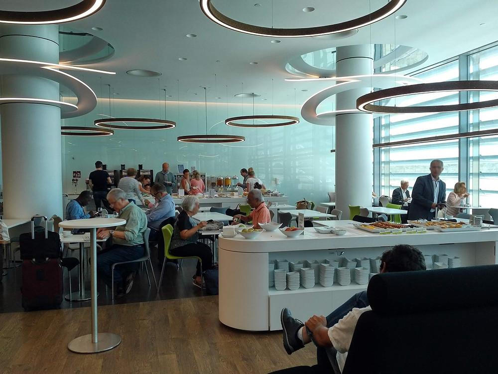TAP lounge Lisbon airport cafe area