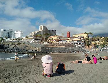 Iberostar Bouganville Playa hotel building from the nearest beach
