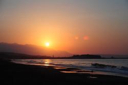 Rethymnon beach at sunset