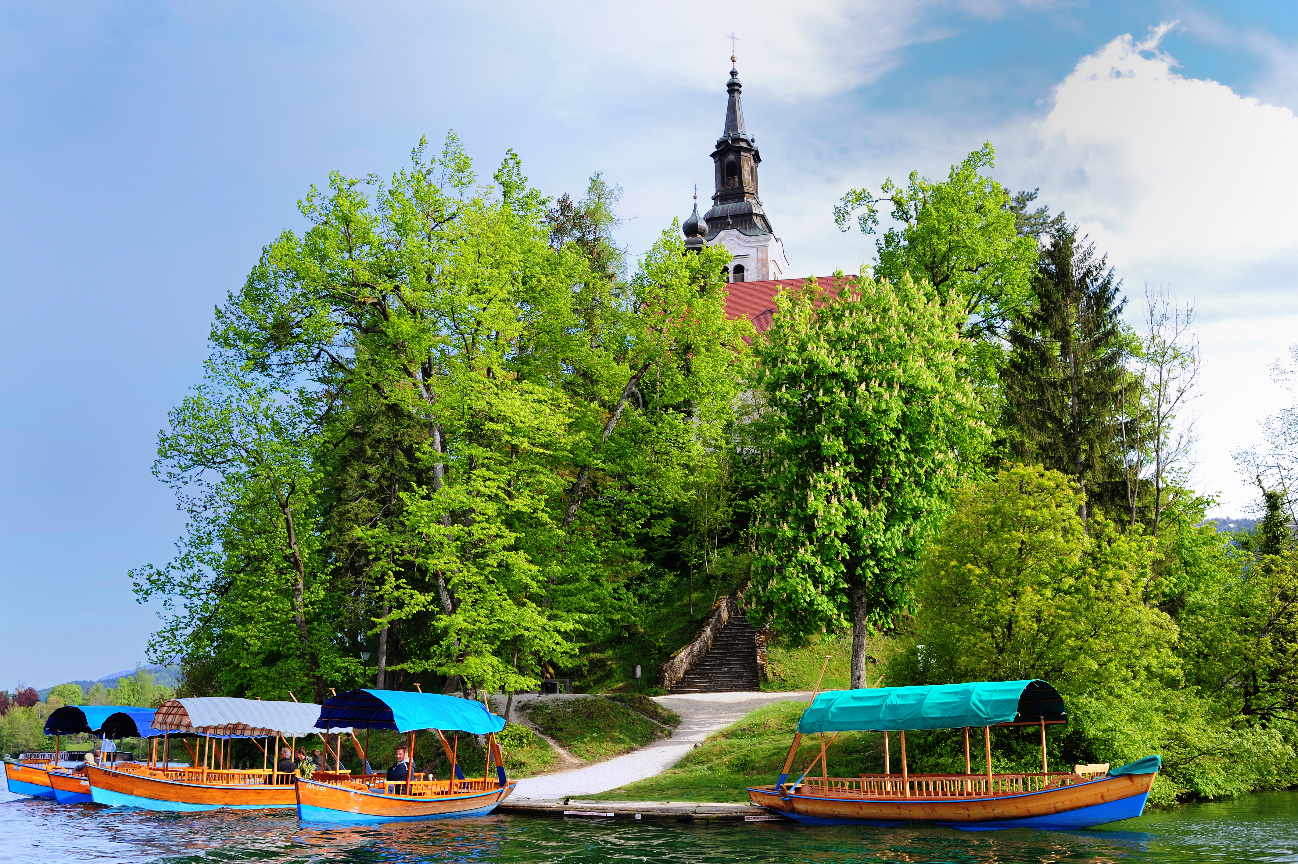 Bled Island and pletna boats