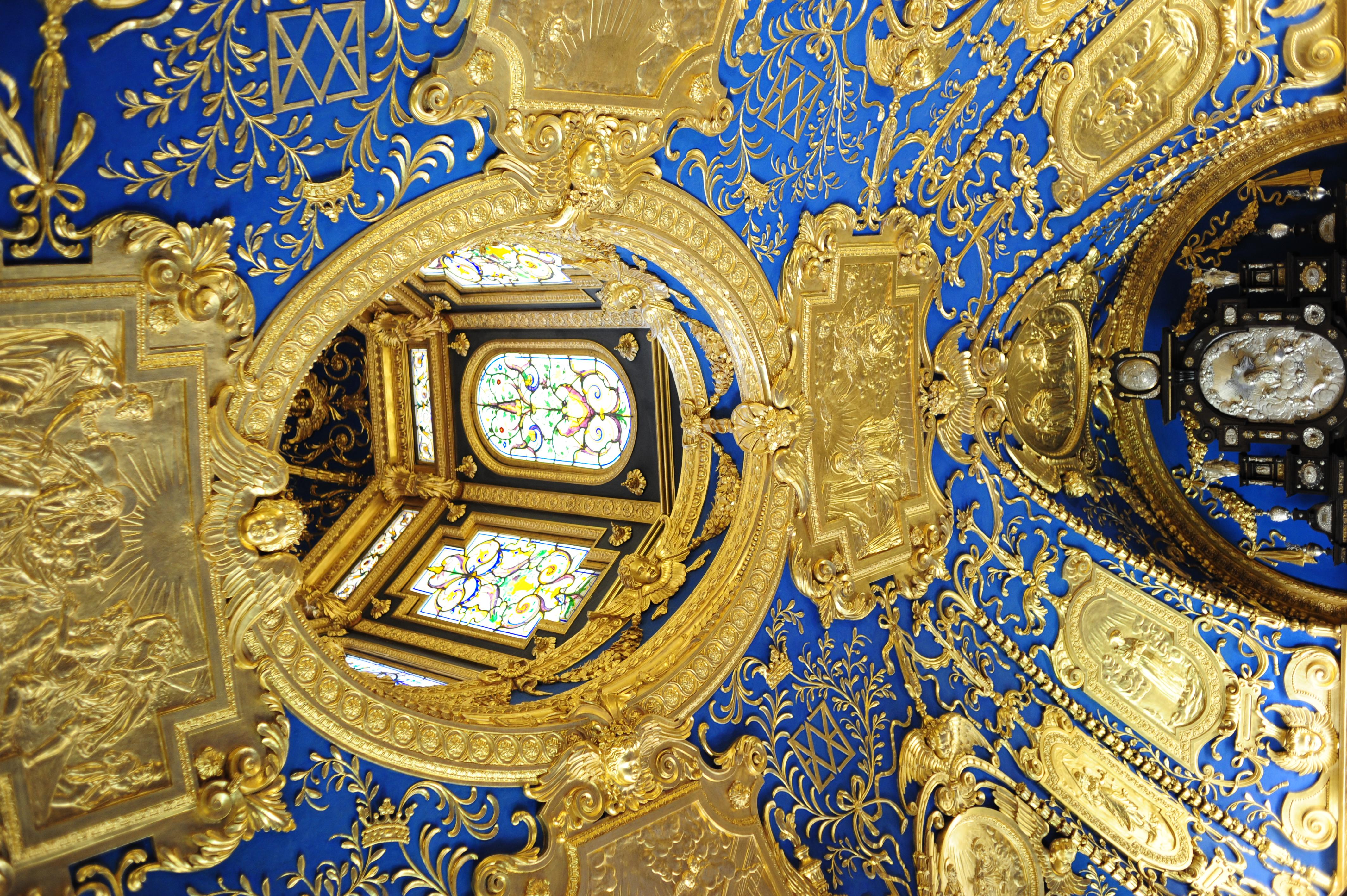 Ornate ceiling inside Residenz, Munich