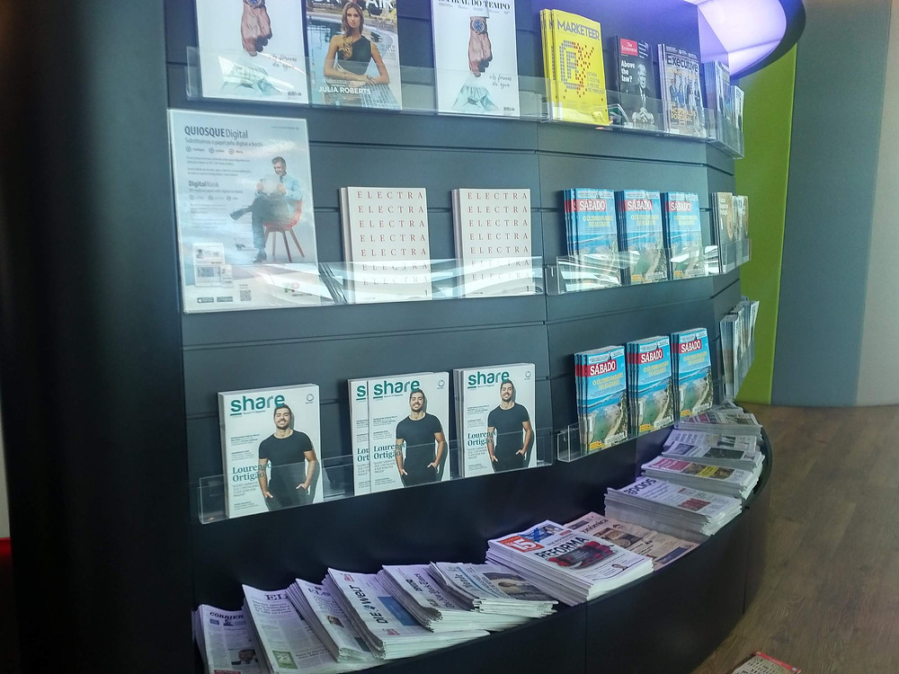 TAP Lisbon lounge magazine stand