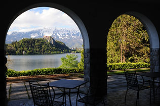 Vila Bled hotel view from the grounds