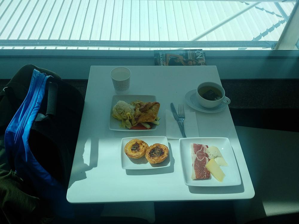TAP Portugal lounge Lisbon window table