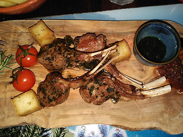 What to eat on Madeira - Lamb chops with milho frito (polenta cubes)