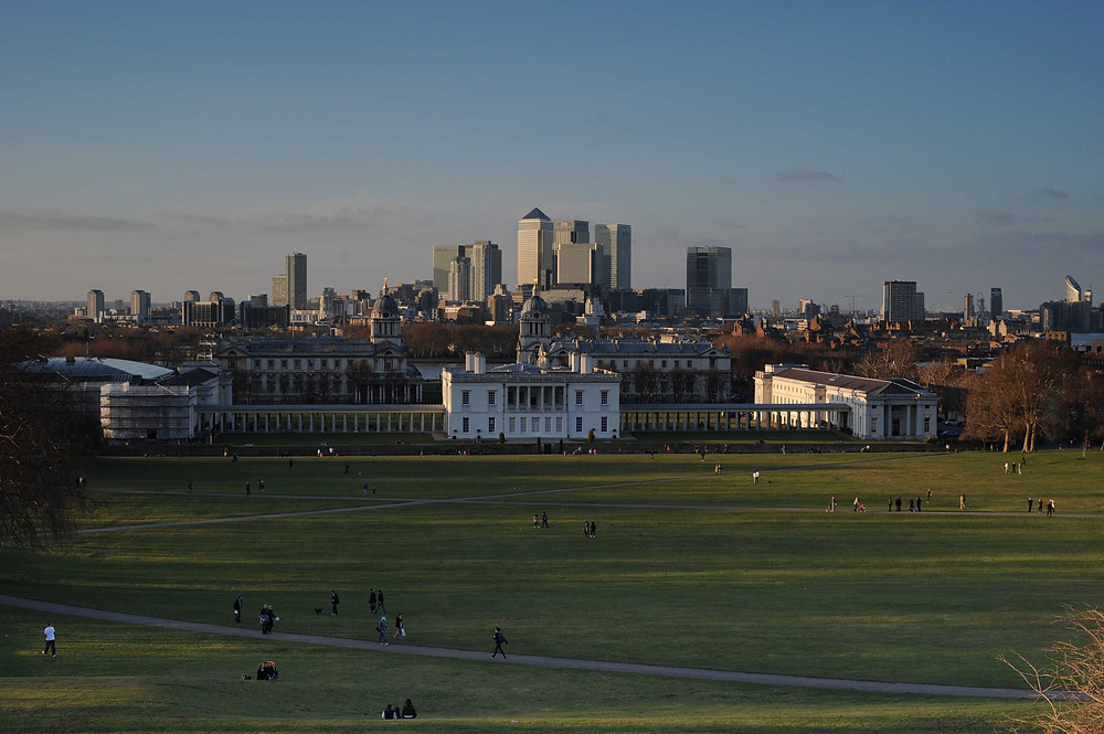 London photo spots: Canary Wharf view from Greenwich park