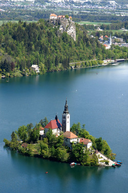 Bled island and castle view from Mala Osojnica