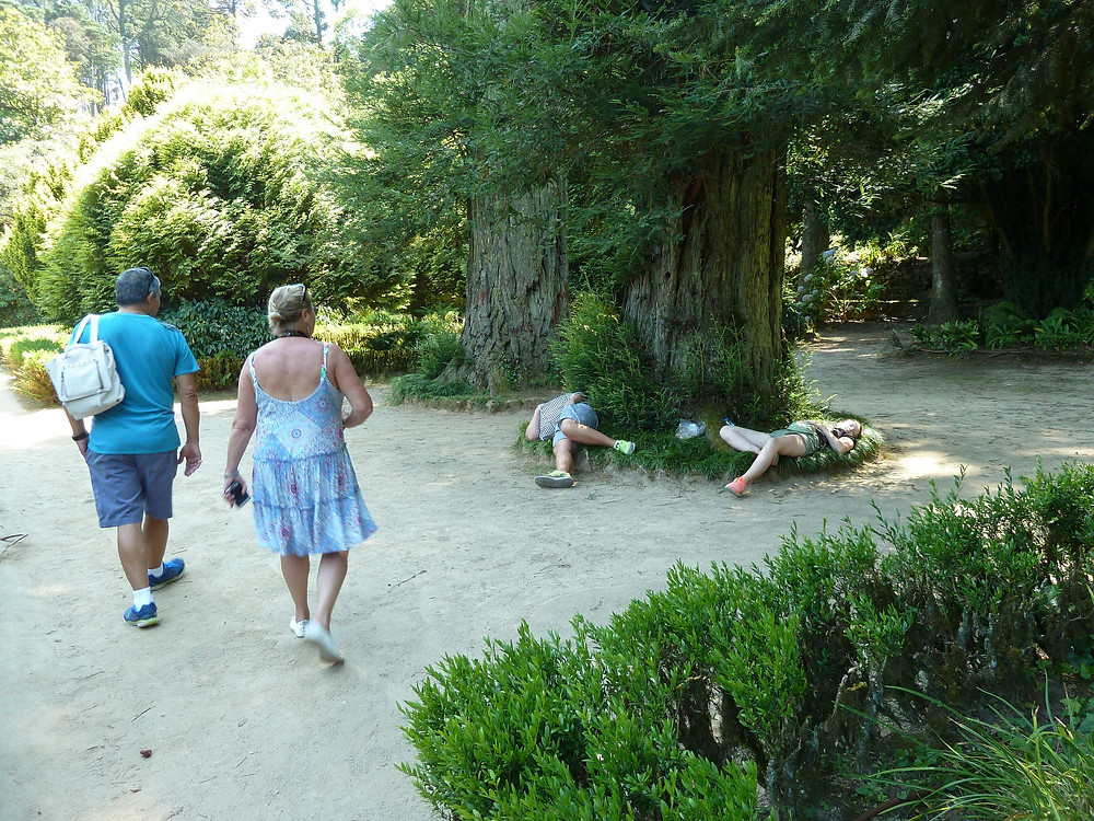 Exhausted tourists at Pena Palace, Sintra