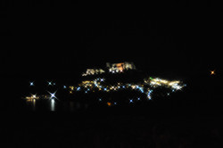 View over Lindos at night