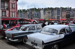 Classic car display in Honfleur