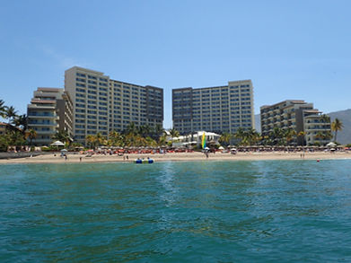 Now Amber Puerto Vallarta and Secrets Vallarta Bay from the sea