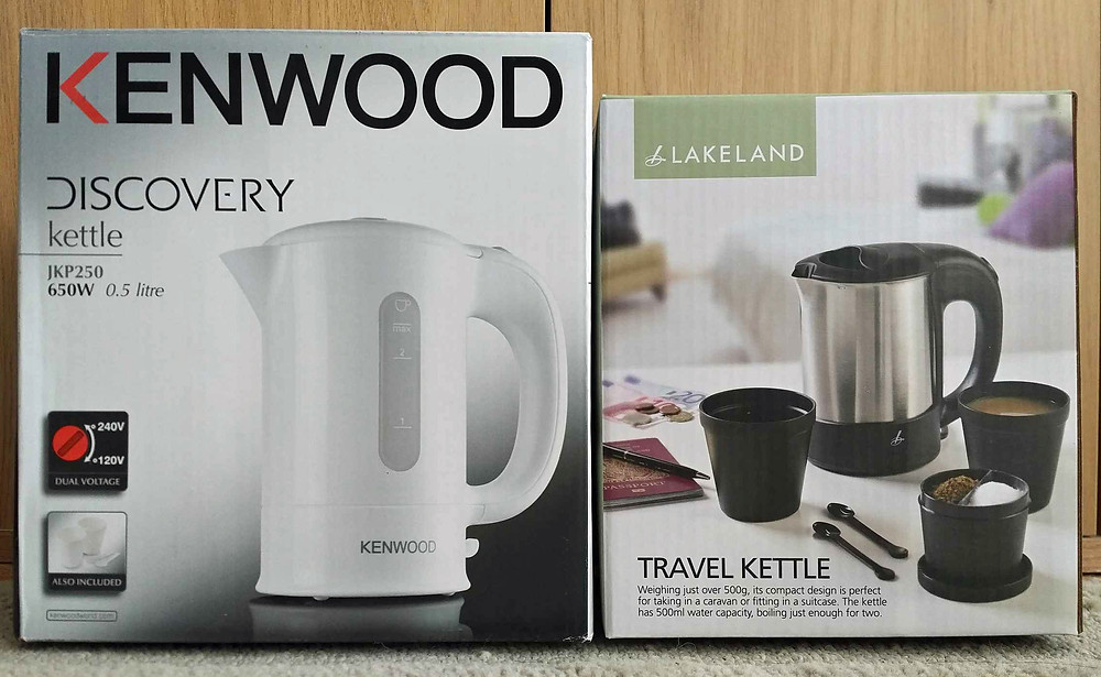 Best travel kettle review - Kenwood (left) and Lakeland (right)