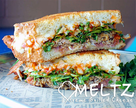Image shows Meltz Beer Can Chicken Grilled Sandwich