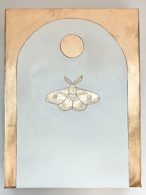 Moon and Moth (white)