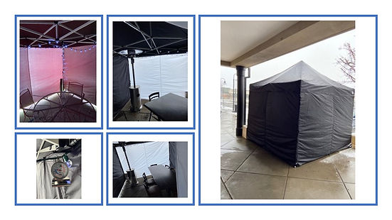 multiphoto of patio with heaters and ten