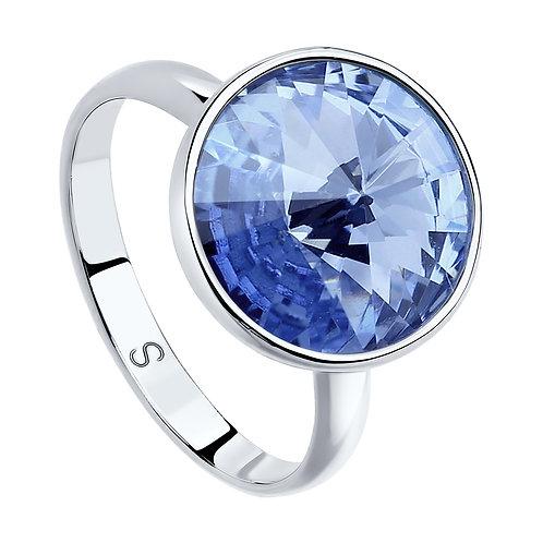 Кольцо из серебра с синим кристаллом Swarovski