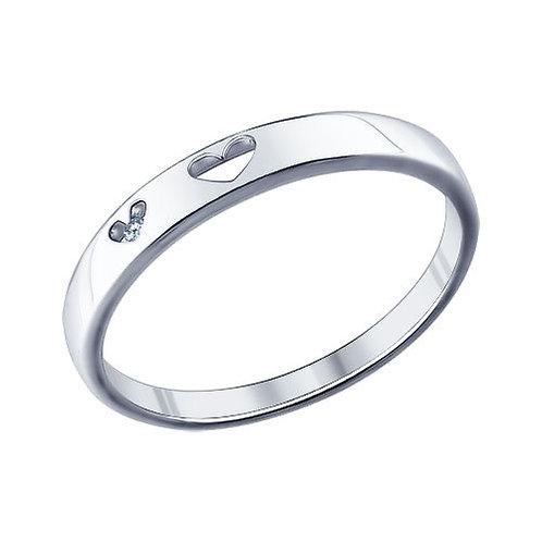 Помолвочное кольцо из серебра с фианитом