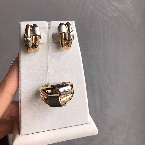 Комплект золотой Серьги + Кольцо