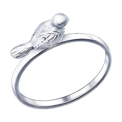 Кольцо с птичкой из серебра