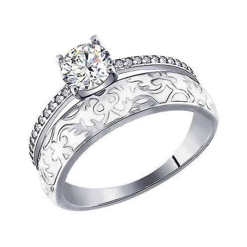 Серебряное кольцо с фианитами и белой эмалью