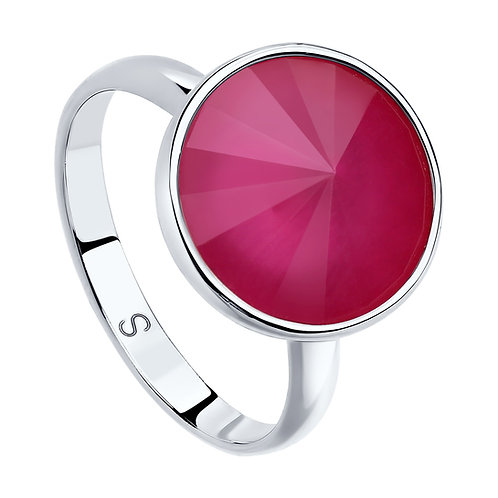 Кольцо с розовым кристаллом Swarovski