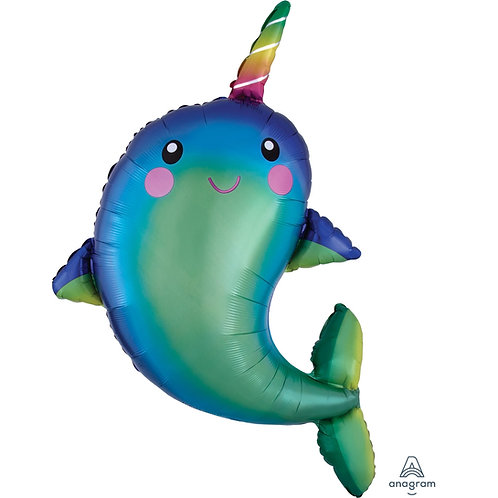 Happy Narwhal Supershape Helium Filled Foil Balloon