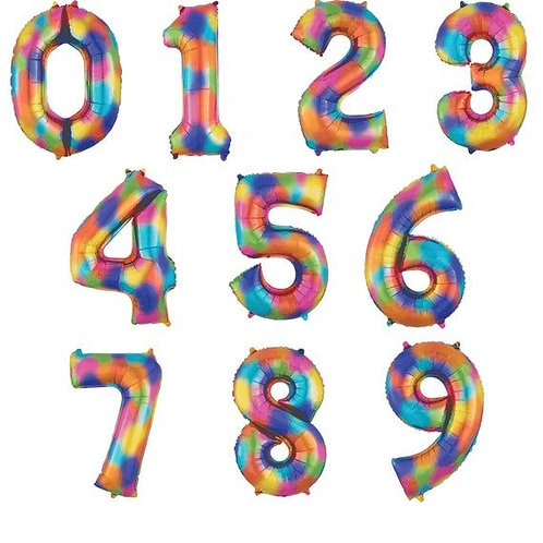 Jumbo Rainbow Number (Helium Filled)