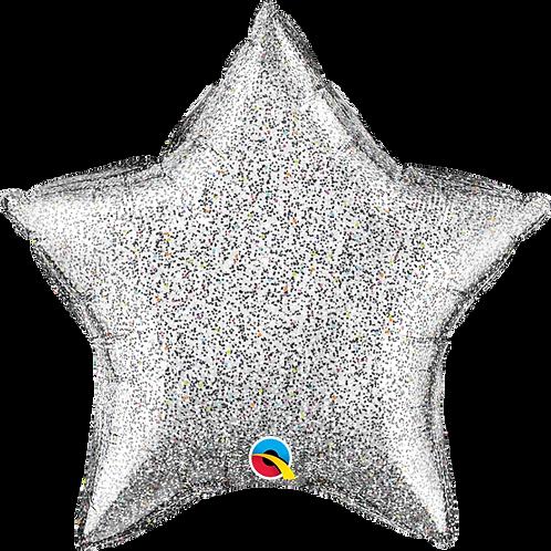 "Standard Foil Balloon ""Glittertastic Silver Star"" - 20"" Helium Filled"
