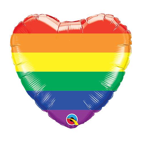 "Standard Foil Balloon ""Rainbow Heart"" 18"" Helium Filled"