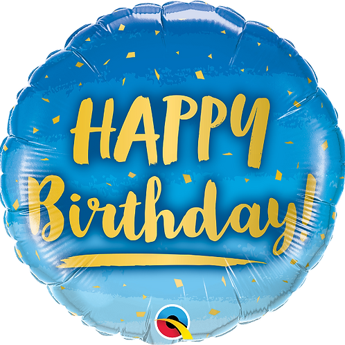 "Standard Foil Balloon ""Happy Birthday Blue + Gold Stars"" - 18"" Helium Filled"