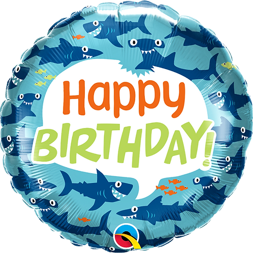 "Standard Foil Balloon ""Happy Birthday Shark"" - 18"" Helium Filled"
